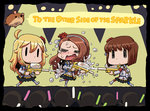 ahoge audience blonde_hair blush bob_cut brown_hair chibi flower glowstick hagiwara_yukiho hair_flower hair_ornament hairband hamster hoshii_miki idolmaster idolmaster_movie long_hair minase_iori multiple_girls riyo_(lyomsnpmp) short_hair shouting skirt spotlight squirting stage tears thighhighs water_gun wet