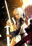 3girls ahoge armor armored_dress artoria_pendragon_(all) aura bangs black_bow black_ribbon blonde_hair blue_dress blue_ribbon blurry bow braid breastplate caliburn closed_mouth commentary dark_excalibur depth_of_field dress dual_persona excalibur eyebrows_visible_through_hair fate/grand_order fate/stay_night fate/unlimited_codes fate_(series) faulds french_braid from_side gauntlets gloves glowing glowing_sword glowing_weapon green_eyes hair_between_eyes hair_bow hair_bun hair_ribbon holding holding_sheath holding_sword holding_weapon juliet_sleeves light_particles lineup long_sleeves looking_at_viewer lucky_(1045044604) multiple_girls pale_skin ponytail puffy_sleeves ribbon saber saber_alter saber_lily scabbard serious sheath short_hair side_glance sidelocks slit_pupils standing sword two-handed unsheathing v-shaped_eyes weapon white_dress yellow_gloves