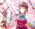 1girl bangs black_hair blue_sky blush bow bowtie breasts cherry_blossoms collared_shirt day dress fang floating_hair hair_ribbon halterneck hand_behind_head highres kantai_collection large_breasts light_rays long_hair long_sleeves looking_at_viewer multicolored_hair naganami_(kantai_collection) outdoors parted_lips petals pink_hair ribbon sabakuomoto school_uniform scratching_cheek shirt sidelocks sky smile sunlight tree two-tone_hair upper_body water_drop white_shirt wind wind_lift yellow_eyes