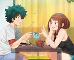1boy 1girl :d arm_support bangs bare_arms bare_shoulders black_camisole blush_stickers boku_no_hero_academia book brown_eyes brown_hair camisole commentary cup curtains floating freckles from_side funhaus green_eyes green_hair hand_on_own_cheek hand_rest hand_up head_rest highres holding holding_cup index_finger_raised indoors justin_leyva_(steamy_tomato) looking_up medium_hair messy_hair midoriya_izuku one-punch_man open_mouth parted_bangs scar shirt short_hair short_sleeves shorts sidelocks sitting smile spoon sugar_cube table teapot upper_body uraraka_ochako white_shirt