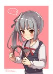 ... 1girl 3: animal_ears black_ribbon blush cat_day cat_ears commentary_request dress eyebrows_visible_through_hair fake_animal_ears green_hair hair_ribbon hairband_removed highres holding kantai_collection kasumi_(kantai_collection) long_hair long_sleeves pinafore_dress red_neckwear remodel_(kantai_collection) ribbon shirt side_ponytail solo soramuko spoken_ellipsis twitter_username upper_body v-shaped_eyebrows white_shirt yellow_eyes