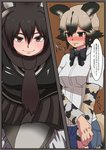 2girls absurdres african_wild_dog_(kemono_friends) african_wild_dog_print animal_ears antlers blush comic commentary_request dog_ears dog_tail fur_collar highres kemono_friends long_sleeves moose_(kemono_friends) moose_ears multiple_girls oekakimannga short_over_long_sleeves short_sleeves tail translation_request