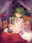 2girls bangs bare_arms bed blanket blown_kiss blue_hair blurry blurry_background buttons clock closed_mouth commentary cup curtains doremy_sweet dress drinking_glass english_commentary eyebrows_visible_through_hair floating flower flower_pot freckles hair_twirling half-closed_eyes hat heart indoors kazami_yuuka looking_at_another looking_to_the_side lying manamanami minigirl multiple_girls night nightcap nightgown on_back on_bed pillow plant pom_pom_(clothes) red_eyes red_hat short_hair short_sleeves sitting sky sleepwear solo_focus star_(sky) starry_sky tail tapir_tail touhou under_covers vines wall_clock window
