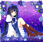 1girl armband bad_id black_hair blue_dress boots bow cross-laced_footwear daisy dress flower flower_request gradient gradient_background hair_bow himemiya_sumire knee_boots legs_up lips long_hair long_sleeves looking_at_viewer parted_lips puffy_sleeves purple_background reflection ripples sitting solo star_sapphire touhou very_long_hair violet_(flower) yellow_eyes
