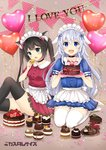2girls :d animal_ears apron balloon bangs black_hair black_legwear blue_hair blue_shirt blue_skirt blush braid breasts cake cat_ears chocolate_cake commentary_request eyebrows_visible_through_hair fang food frilled_apron frills green_eyes hair_between_eyes head_tilt heart heart_balloon holding holding_food holding_plate long_hair looking_at_viewer macaron maid_headdress multiple_girls open_mouth original plate pleated_skirt puffy_short_sleeves puffy_sleeves purple_eyes red_shirt red_skirt sakurai_makoto_(custom_size) seiza shirt short_sleeves sitting skirt small_breasts smile thighhighs twin_braids very_long_hair waist_apron white_apron white_legwear