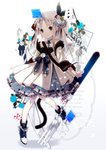 1girl ace_of_hearts bangs bare_shoulders black_eyes blue_footwear blurry blurry_foreground boots card cat_tail closed_mouth club_(shape) collarbone commentary_request cursive depth_of_field dress english flower fork gradient gradient_background grey_background hair_flower hair_ornament heart highres key knife light_brown_hair long_hair long_sleeves original oversized_object parted_bangs pink_flower playing_card polka_dot rose smile solo standing standing_on_one_leg tail very_long_hair white_background white_dress white_flower white_rose yuzuyomogi