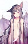 1girl :d animal_ear_fluff animal_ears black_hair blush braid breasts cat_ears cleavage collarbone cowboy_shot dragon_wings fang groin hair_censor hair_ribbon highres light_censor long_hair looking_at_viewer medium_breasts mishuo_(misuo69421) navel nude open_mouth original red_eyes ribbon smile solo standing torn_wings very_long_hair white_background white_ribbon wings