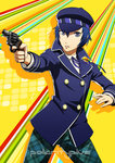 1girl blue_eyes blue_hair cabbie_hat daniel_macgregor gun handgun hat persona persona_4 revolver school_uniform shirogane_naoto short_hair solo weapon