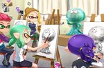 2boys 2girls :p aori_(splatoon) bangs beanie bike_shorts black_pants black_shorts blonde_hair blue_hair blue_sweater blunt_bangs boots brown_boots brown_hat canvas_(object) carton casual chair closed_eyes curtains domino_mask drawing easel eraser graphite_(medium) green_eyes green_hair green_pants green_tongue hat holding holding_pencil indoors inkling jellyfish_(splatoon) long_sleeves mask milk multicolored_sweater multiple_boys multiple_girls pants pencil pointy_ears red_eyes red_hair riko_(sorube) scrunchie shirt shorts sitting splatoon splatoon_2 squid sweater t-shirt tentacle_hair tongue tongue_out traditional_media white_shirt