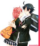 1boy 1girl ahoge announcement_celebration backpack bag bag_charm black_hair black_jacket black_pants blazer blush charm_(object) commentary_request face-to-face hand_on_another's_arm hetero hikigaya_hachiman jacket leaning_forward long_sleeves looking_at_another miniskirt open_mouth pants parted_lips peke_(xoxopeke) pink_hair plaid plaid_skirt pleated_skirt red_neckwear school_bag school_uniform short_hair side_bun skirt sweatdrop twitter_username yahari_ore_no_seishun_lovecome_wa_machigatteiru. yuigahama_yui