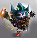 animal_ears boots character_name fire furry gloves goggles goggles_on_head grey_background gumeaw league_of_legends mace machinery open_mouth rumble_(league_of_legends) walker weapon yellow_eyes