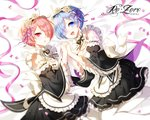 2girls :d artist_name bed_sheet black_ribbon blue_eyes blue_hair blurry blush breasts copyright_name depth_of_field dress eyebrows_visible_through_hair frilled_sleeves frills from_above hair_ornament hair_over_one_eye holding_hands looking_at_viewer lying maid maid_headdress medium_breasts multiple_girls myoya neck_ribbon on_side open_mouth pantyhose parted_lips petals pink_eyes pink_hair pink_ribbon ram_(re:zero) re:zero_kara_hajimeru_isekai_seikatsu rem_(re:zero) ribbon ribbon-trimmed_clothes ribbon_trim siblings small_breasts smile twins twintails white_legwear wide_sleeves x_hair_ornament