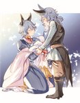1boy 1girl ^_^ bangs black_footwear black_vest blue_dress blue_flower blue_hair blush boots bouquet brown_pants closed_eyes closed_mouth coattails commentary_request drang_(granblue_fantasy) dress eno_yukimi erune eyebrows_visible_through_hair falling_leaves flower full_body glasses granblue_fantasy grandmother_and_grandson grey_shirt hair_between_eyes highres juliet_sleeves knee_boots kneeling leaf long_dress long_hair long_sleeves pants puffy_sleeves red_neckwear red_ribbon ribbon shiny shiny_hair shirt short_hair smile standing vest wavy_hair younger