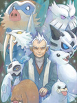 1boy dewgong froslass glalie gym_leader mamoswine old_man piloswine pokemon pokemon_(game) pokemon_hgss seel tegaki walrein winter_clothes yanagi_(pokemon)