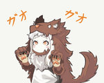 1girl alternate_costume animal_costume blush_stickers commentary damagefloor dress fur_collar highres kantai_collection long_hair looking_at_viewer mittens northern_ocean_hime orange_eyes shinkaisei-kan simple_background solo translated white_background white_dress white_hair white_skin wolf_costume wolf_paws