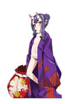 1girl alternate_hairstyle closed_mouth denden_taiko fate/grand_order fate_(series) flat_chest highres japanese_clothes kimono looking_at_viewer navel oni oni_horns open_clothes open_kimono pointy_ears purple_eyes purple_hair short_hair shuten_douji_(fate/grand_order) smile solo standing younger