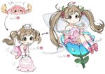 1girl ahoge bangs blush bow bowtie brown_eyes chibi cup dot_nose dress egg evolution eyebrows_visible_through_hair fairy fairy_wings flower flying full_body hair_bow hair_flower hair_ornament hakozaki_serika idolmaster idolmaster_million_live! no_nose on_flower pink_dress pink_footwear pink_neckwear pointy_ears sitting smile spawnfoxy teacup twintails white_background wings wrist_cuffs
