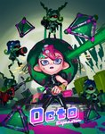 1boy 4girls ayumi_(830890) bike_shorts black_footwear black_gloves black_hair black_pants blaster_(splatoon) blue_hair boots closed_mouth dual_wielding elbow_gloves fingerless_gloves gloves gradient_hair green_hair green_skin highres holding ink_tank_(splatoon) inkjet_(splatoon) jetpack legs_apart long_hair long_sleeves mohawk multicolored_hair multiple_girls octarian octoling open_mouth paint pants pink_hair seaweed short_hair signature silver_eyes single_sleeve smile splat_bomb_(splatoon) splat_dualies_(splatoon) splatoon_(series) splatoon_2 splatoon_2:_octo_expansion standing sting_ray_(splatoon) suction_cups sunglasses takozonesu teeth tenta_missiles_(splatoon) tentacle_hair two-tone_hair wristband zipper zipper_pull_tab
