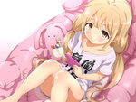 1girl bean_bag_chair blonde_hair bottomless brown_eyes candy cellphone closed_mouth clothes_writing food futaba_anzu idolmaster idolmaster_cinderella_girls lollipop long_hair looking_at_viewer low_twintails no_panties ookanehira phone shirt short_sleeves sitting smile solo stuffed_animal stuffed_bunny stuffed_toy t-shirt twintails you_work_you_lose