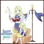 2girls blonde_hair blue_eyes book bug butterfly closed_eyes commentary couch diana_cavendish happy_birthday hat insect little_witch_academia luna_nova_school_uniform multiple_girls one_eye_closed raisun time_paradox wand witch_hat younger