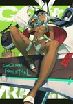 1girl ainezu belt beltbra breasts character_name clover commentary_request dark_skin eating food four-leaf_clover grey_hair guilty_gear guilty_gear_xrd hamburger hat highres long_hair medium_breasts orange_eyes ramlethal_valentine short_shorts shorts sitting solo thigh_strap underboob