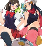2girls beanie black_hair black_legwear blush boots bowtie budew grey_legwear hair_ornament hairclip hand_on_hip hat hikari_(pokemon) holding holding_poke_ball kneehighs lass_(pokemon) long_hair miniskirt multiple_girls onaramaru piplup pleated_skirt poke_ball pokemon pokemon_(game) pokemon_dppt scarf school_uniform shinx skirt sleeveless sleeveless_shirt smile