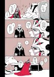 +++ 2boys animal black_sclera cape closed_eyes comic facial_hair fate/grand_order fate_(series) goatee koshiro_itsuki lobo_(fate/grand_order) long_hair multiple_boys muscle mustache open_mouth oversized_animal partially_colored red_eyes romulus_(fate/grand_order) smile speech_bubble translation_request vlad_iii_(fate/apocrypha) wolf yellow_eyes