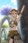 1girl animal_ears arms_up bike_shorts black_gloves blurry blurry_background breasts brown_hair cat_ears cat_tail commission cowboy_shot facial_mark final_fantasy final_fantasy_xiv gloves gohpot green_eyes halter_top halterneck highres legs_apart lips looking_at_viewer midriff miqo'te multicolored_hair outdoors short_hair skirt slit_pupils small_breasts smile solo standing tail tree two-tone_hair whisker_markings