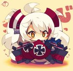 azur_lane bangs beige_background blush chibi closed_mouth dress eyebrows_visible_through_hair full_body hair_between_eyes heart iron_cross long_hair long_sleeves looking_at_viewer multicolored_hair muuran orange_hair prinz_eugen_(azur_lane) red_dress red_hair signature sleeves_past_fingers sleeves_past_wrists star star-shaped_pupils streaked_hair symbol-shaped_pupils translation_request twintails very_long_hair white_hair