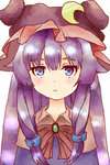 1girl adapted_costume animated blinking blue_eyes blush blush_stickers bow bowtie braid brooch cape crescent crescent_moon double_bun emofuri hat hat_ornament jewelry jigsaw_(iori) lips lipstick long_hair looking_at_viewer lowres makeup moon patchouli_knowledge purple_hair revision ribbon shiny shiny_hair simple_background solo touhou ugoira white_background