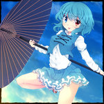 1girl blue_hair blue_sky breasts commentary_request dress_shirt frame fuuen_(akagaminanoka) geta heterochromia highres juliet_sleeves long_sleeves looking_at_viewer miniskirt oriental_umbrella puffy_sleeves shirt skirt skirt_set sky smile solo standing_on_one_leg tatara_kogasa tongue tongue_out touhou umbrella vest white_shirt