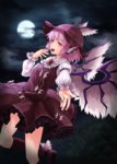 1girl :d animal_ears arm_garter cloud dress fingernails full_moon hat kneehighs long_fingernails long_sleeves moon mystia_lorelei nail_polish night open_mouth outstretched_hand pink_eyes pink_hair puffy_long_sleeves puffy_sleeves purple_dress purple_legwear short_hair smile solo spitfire99 touhou wings
