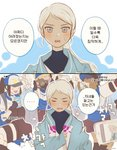2koma 6+boys 6+girls blanche_(pokemon) closed_eyes comic crowd dal_suk embarrassed female_protagonist_(pokemon_go) korean_text male_protagonist_(pokemon_go) multiple_boys multiple_girls oversized_clothes pokemon pokemon_go silver_hair taking_picture team_mystic translation_request wavy_mouth