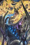 100megagna aura battle bioluminescence claws crossover dark_sky debris dragon dragon_horns dragon_wings electricity epic eva_01 extra_eyes fangs flying ghidorah_(godzilla:_the_planet_eater) ghidorah_(shin) giant giant_monster glowing glowing_eyes glowing_mouth godzilla godzilla:_king_of_the_monsters godzilla:_planet_of_the_monsters godzilla_(legendary) godzilla_(series) godzilla_(shin) godzilla_earth gold gold_skin highres horns kaijuu king_ghidorah king_ghidorah_(godzilla:_king_of_the_monsters) long_neck mecha monster multiple_heads multiple_persona neon_genesis_evangelion no_humans open_mouth rebuild_of_evangelion red_eyes rock scales science_fiction sharp_teeth shin_godzilla size_difference sky spines tail teeth traditional_media wings yellow_eyes