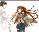 1boy 1girl belt black_hair brown_hair collared_shirt cowboy_shot denim denim_shorts facial_hair jacket labcoat legwear_under_shorts letterboxed long_hair looking_at_another makise_kurisu off_shoulder okabe_rintarou open_mouth outstretched_hand pantyhose petals red_eyes shirt short_hair shorts simple_background steins;gate stubble sunege white_background wind