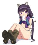 1girl animal_ears ass bangs bare_arms bare_shoulders blue_gloves blue_panties blue_scarf blush boots brown_footwear cat_ears cat_tail character_request coffee_cup commentary_request copyright_request cup disposable_cup eyebrows_visible_through_hair flat_chest gloves hair_ribbon long_hair looking_at_viewer panties ponytail purple_eyes ribbon scarf solo tail underwear zaxwu