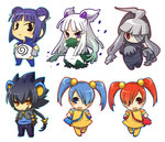 :< >:< abomasnow ahoge animal_ears bandages black_hair blue_eyes blue_hair blush_stickers chibi commentary_request dress dusclops gloves gradient_hair grey_hair hair_ornament hands_in_pockets hands_on_hips hitec jacket looking_at_viewer luxray minun multicolored_hair multiple_girls open_mouth outline personification plusle pokemon poliwrath ponytail purple_eyes red_eyes red_hair simple_background slit_pupils smile standing thighhighs translation_request twintails white_background white_hair yellow_eyes