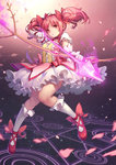 1girl arrow bow_(weapon) drawing_bow dress gloves index_finger_raised kaname_madoka kneehighs loewy magic_circle mahou_shoujo_madoka_magica petals pink_eyes pink_hair solo twintails weapon white_gloves white_legwear