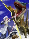 1girl aiming arrow bow_(weapon) drawing_bow green_eyes hinata-bokko_(sanpo_fuumi) holding holding_arrow holding_bow_(weapon) holding_weapon monster monster_hunter outstretched_arm purple_hair solo tigrex weapon