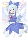 (9) 1girl :d akagashi_hagane arm_up bangs blue_bow blue_eyes blue_hair bow buttons cirno collared_shirt cowboy_shot hair_bow ice ice_wings looking_at_viewer neck_ribbon open_mouth red_ribbon ribbon shirt short_hair short_sleeves skirt skirt_set sleeveless smile solo star touhou white_shirt wings