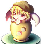 1girl absurdres animal_ears beret blonde_hair bunny_ears chestnut_mouth cup dango dior-zi floppy_ears food hat highres in_container in_cup minigirl open_mouth red_eyes ringo_(touhou) solo touhou wagashi