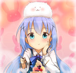 1girl :t animal animal_on_head blue_bow blue_bowtie blue_eyes blue_hair bow bowtie bunny bunny_on_head chin_rest eating eyebrows_visible_through_hair gochuumon_wa_usagi_desu_ka? hair_between_eyes holding holding_spoon kafuu_chino long_hair looking_at_viewer max_melon_teitoku on_head parfait pink_background rabbit_house_uniform shirt solo tippy_(gochiusa) upper_body very_long_hair white_shirt
