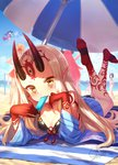 6+girls ass bare_shoulders barefoot beach beach_towel beach_umbrella bikini black_bikini blonde_hair blue_kimono blue_sky blush breasts cleavage cloud collarbone commentary_request day elizabeth_bathory_(fate) elizabeth_bathory_(fate)_(all) facial_mark fang_out fangs fate/grand_order fate_(series) feet fingernails food forehead_mark front-tie_top hat highres horns ibaraki_douji_(fate/grand_order) ibaraki_douji_(swimsuit_lancer)_(fate) japanese_clothes kimono long_hair looking_at_viewer lying multiple_girls nero_claudius_(fate) nero_claudius_(fate)_(all) nero_claudius_(swimsuit_caster)_(fate) ocean on_stomach oni oni_horns outdoors pink_hair pointy_ears popsicle purple_hair saint_martha saint_martha_(swimsuit_ruler)_(fate) sharp_fingernails shuten_douji_(fate/grand_order) sky smile swimsuit tamamo_(fate)_(all) tamamo_no_mae_(fate) tamamo_no_mae_(swimsuit_lancer)_(fate) tattoo the_pose towel umbrella very_long_hair water yapo_(croquis_side) yellow_eyes