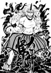 1girl alcohol anger_vein bare_legs blackcat_(pixiv) breasts broken broken_chain chain chireiden commentary_request cuffs cup dated eyebrows_visible_through_hair fighting_stance geta greyscale grin horn hoshiguma_yuugi long_hair monochrome muscle muscular_female sakazuki sandals see-through shackles shattered shirt skirt smile t-shirt touhou transparent_skirt v-shaped_eyebrows white_shirt