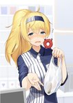 1girl ahoge alternate_hairstyle bag bangs blonde_hair blue_eyes blue_shirt blurry blurry_background breast_pocket cash_register collared_shirt commentary_request creature creature_on_shoulder crying employee_uniform enemy_lifebuoy_(kantai_collection) flying_sweatdrops frown gambier_bay_(kantai_collection) hairband holding holding_bag kantai_collection lawson long_hair long_ponytail meth_(emethmeth) multicolored_hair plastic_bag pocket ponytail shiny shiny_hair shirt short_sleeves striped striped_shirt tears two-tone_hair uniform upper_body vertical-striped_shirt vertical_stripes wing_collar wiping_tears
