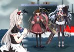 3girls american_flag anger_vein animal_ears azur_lane bald_eagle bell_mccamp_(zhan_jian_shao_nyu) beta_(joutarou) bird black_legwear bow brown_eyes brown_hair cat_ears closed_eyes commentary eagle essex_(zhan_jian_shao_nyu) flower grey_hair hair_bow halberd hammann_(azur_lane) hands_together holding holding_flower holding_weapon instrument jacket jitome juliet_sleeves long_hair long_sleeves maid multiple_girls music non_non_biyori open_mouth pacific pantyhose playing_instrument polearm puffy_short_sleeves puffy_sleeves recorder red_eyes red_jacket red_skirt shaded_face ship short_sleeves singing skirt smile standing standing_on_liquid sweatdrop twintails uss_west_virginia_(bb-48) watercraft weapon white_hair wrist_cuffs zhan_jian_shao_nyu