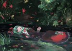 1girl autumn_leaves bow closed_eyes dress fine_art_parody forest front_ponytail green_hair hair_bow ichiba_youichi kagiyama_hina nature open_mouth ophelia_(painting) parody partially_submerged red_dress solo touhou water