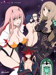 001_(darling_in_the_franxx) 1boy 5girls antispiral_nia antispiral_nia_(cosplay) ass bangs bikini_top black_bodysuit black_hair blue_eyes blue_hair blue_jacket blue_skin blunt_bangs blush bodysuit boots breasts cape cleavage commentary_request cosplay crossed_arms darling_in_the_franxx facial_scar fang glasses green_eyes hair_ornament hairband highres hiro_(darling_in_the_franxx) holding_hands horns hug ichigo_(darling_in_the_franxx) ikuno_(darling_in_the_franxx) jacket kokoro_(darling_in_the_franxx) large_breasts light_blue_hair light_brown_hair long_hair looking_at_viewer looking_back lordgenome lordgenome_(cosplay) mask multiple_girls navel nia_teppelin night night_sky niwatori_kokezou nude oni_horns open_clothes open_jacket parody pink_hair ponytail purple_eyes purple_hair red_horns scar short_hair signature simon simon_(cosplay) sky space_yoko star star_(sky) tengen_toppa_gurren_lagann thick_eyebrows thigh_boots thighhighs thighs white_cape white_hairband white_legwear yoko_littner yoko_littner_(cosplay) yuri zero_two_(darling_in_the_franxx)