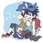 1boy black_hair blue_background bucket_hat buneary grey_eyes hat highres leggings male_focus one_eye_closed open_mouth pokemon pokemon_(creature) pokemon_(game) pokemon_ultra_sm popplio rockruff shiro_(tiotolv) shoes shorts signature simple_background sitting smile sneakers tank_top you_(pokemon_ultra_sm)