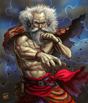 1boy abs beard big_hair bracelet cloak facial_hair fighting_stance jewelry male_focus manly matataku messy_hair muscle necklace old_man original shirtless solo veins white_hair wrinkles
